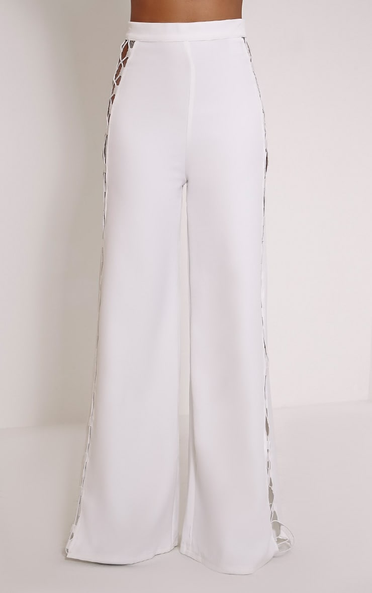 Loiss Cream Lace Up Side Wide Leg Trousers 2