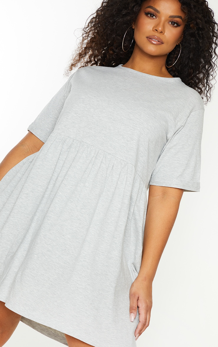 Essential Plus Grey Marl Cotton Blend Jersey Oversized Smock Dress 4