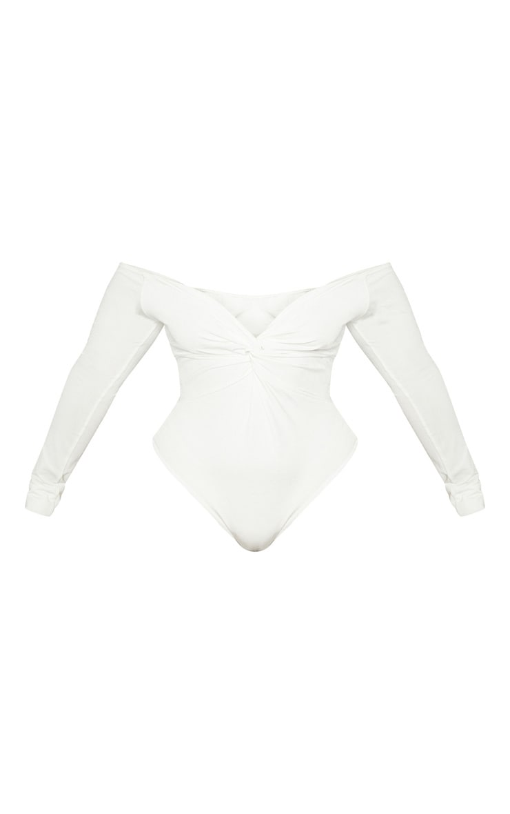 Plus White Slinky Twist Front Bardot Bodysuit 3