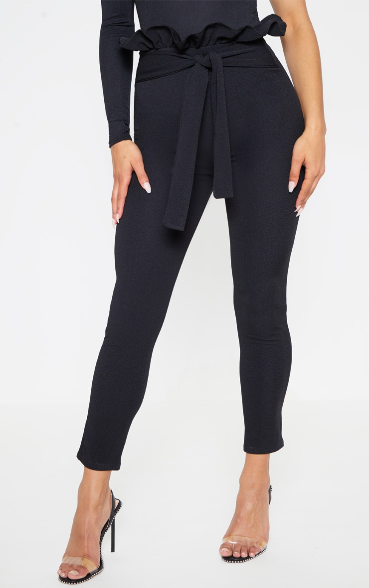 Perlita Black Paperbag Skinny Trousers 2