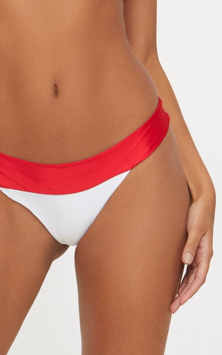 White and Red Mini Contrast Bikini Bottom 5