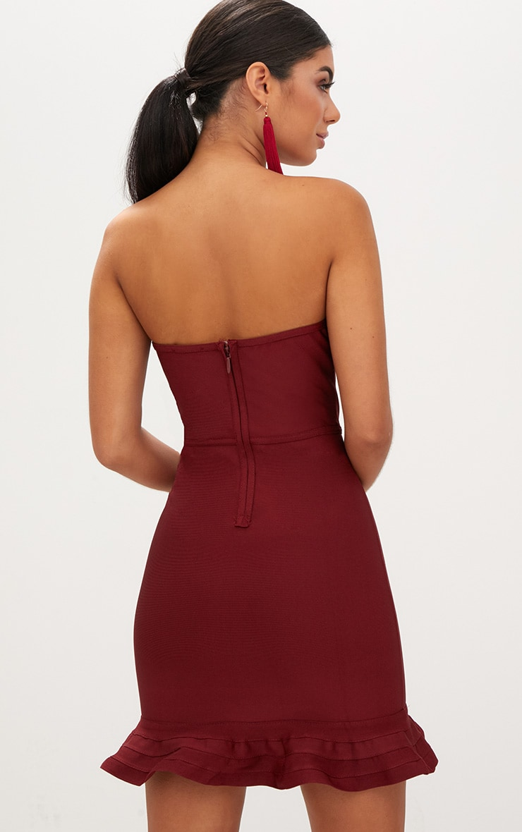 Dark Red Bandage Frill Hem Bodycon Dress  2