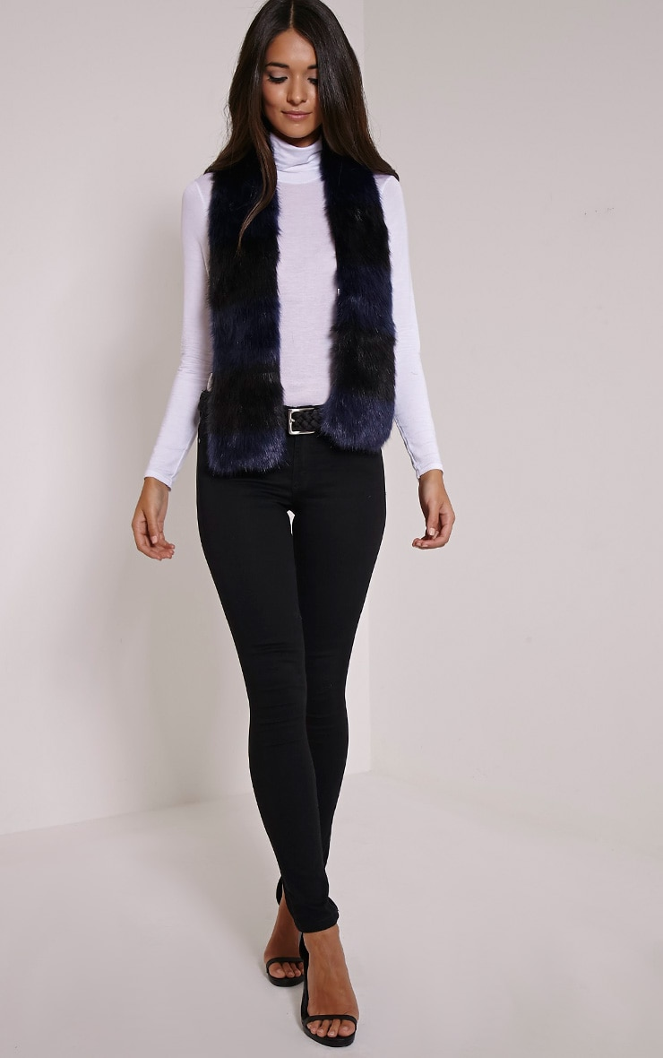 Toni Navy Striped Faux Fur Scarf 2