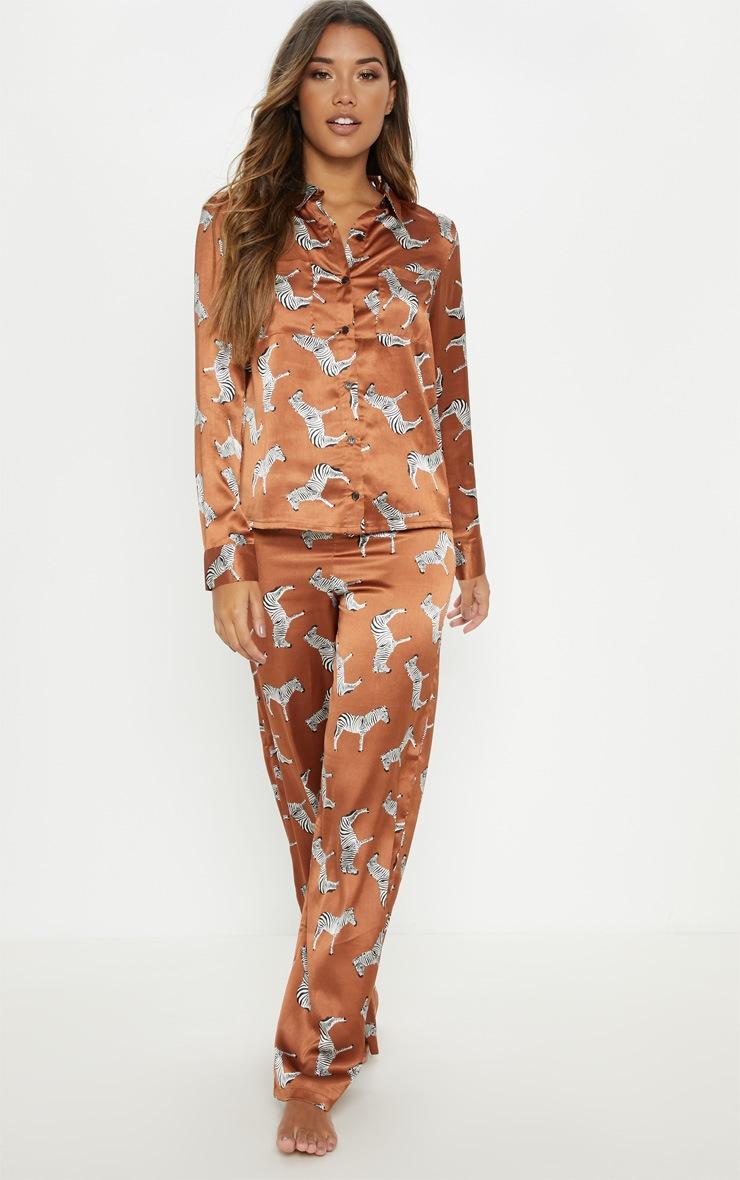 Rust Zebra Print Long Sleeve Satin Pyjama Set 4