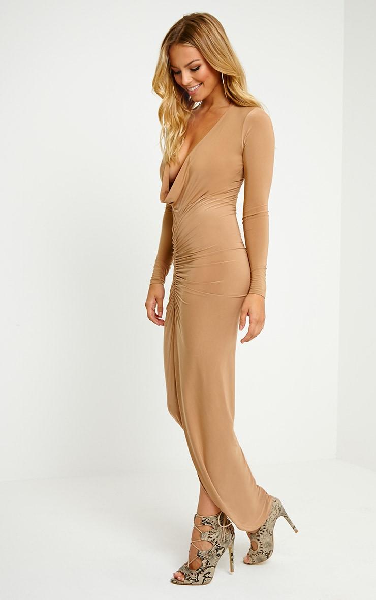 Ellie Camel Crepe Ruched Maxi Dress 3