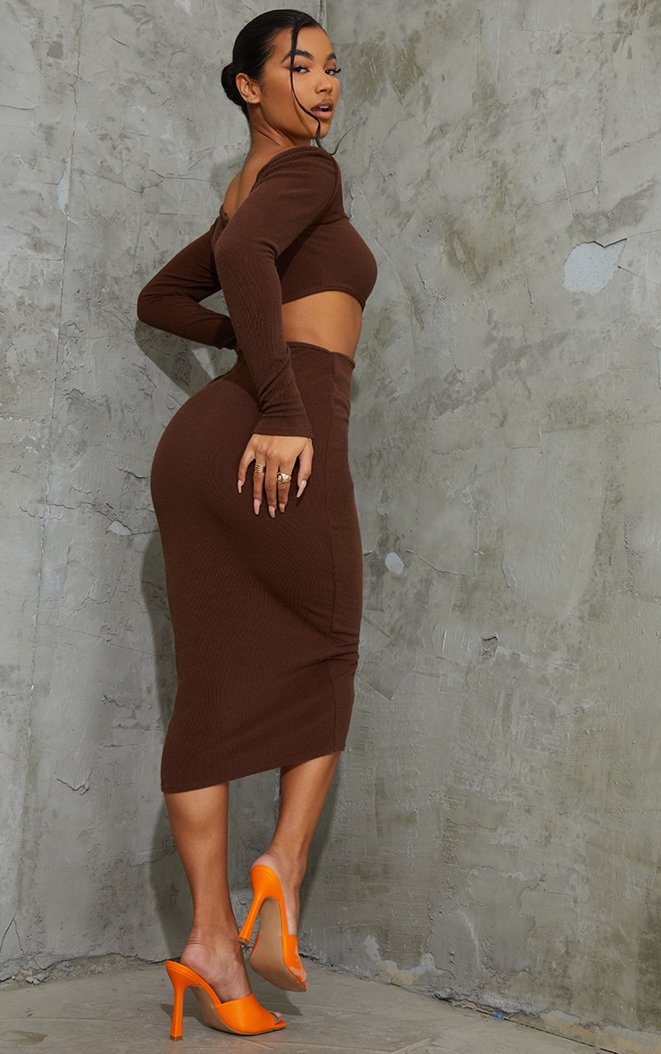 Chocolate Ribbed Long Sleeve Cut Out Midaxi Dress 2