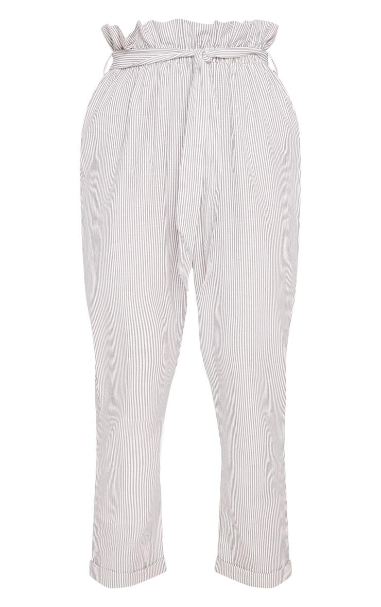 Grey Tie Waist Stripe Cigarette Trouser 3