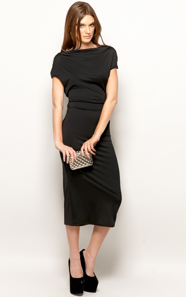 Chrissy Black Cowl Front Midi Dress 4