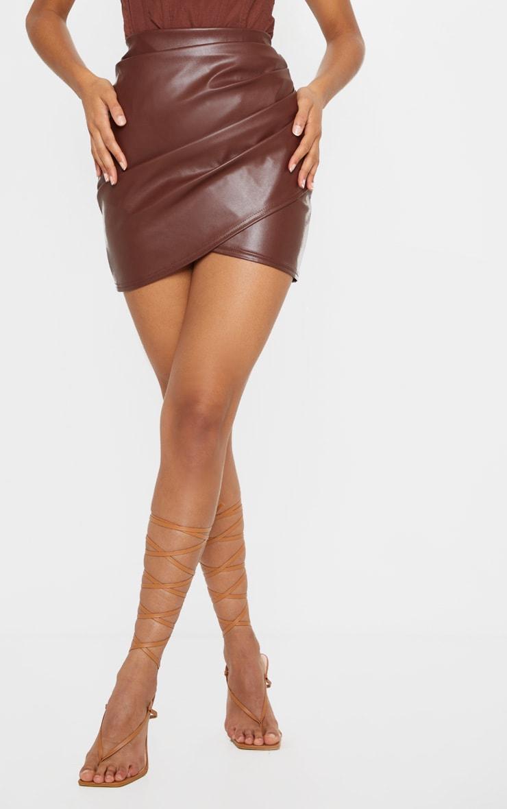 Chocolate Ruched Faux Leather Skirt 2
