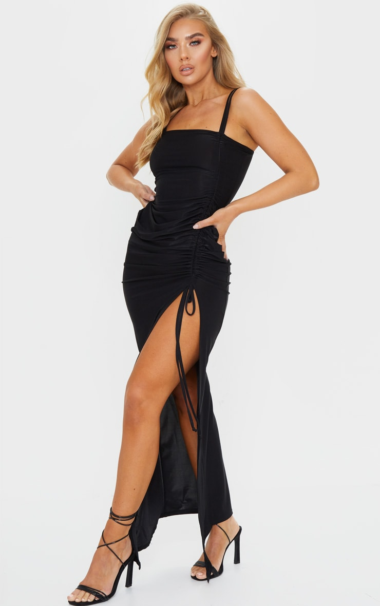 Black Slinky Strappy Side Ruched Maxi Dress 3