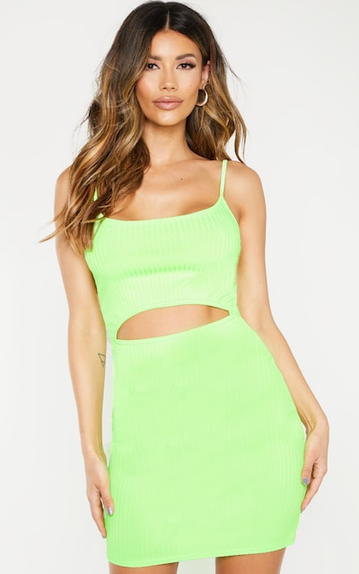 2955edcab59 Neon Lime Ribbed Strappy Cut Out Centre Bodycon Dress