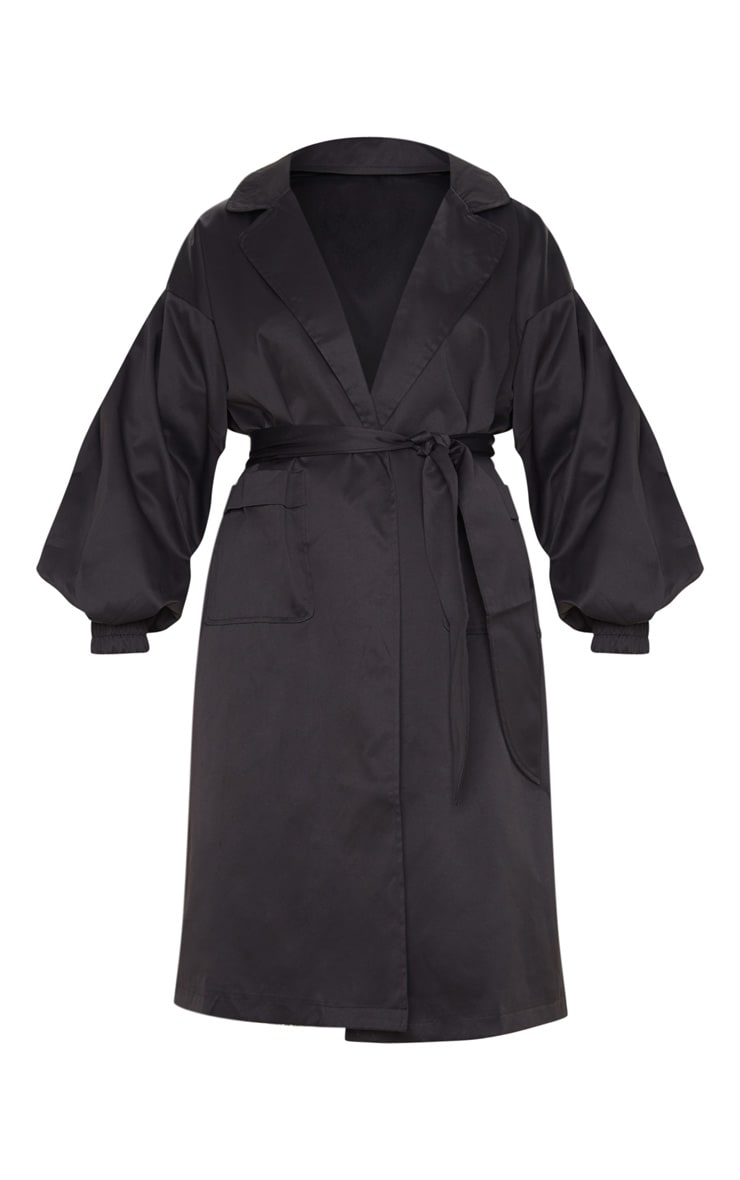 Black Balloon Sleeve Tie Waist Trench 3