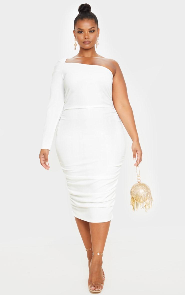Plus Cream One Shoulder Ruching Detail Midi Dress 1