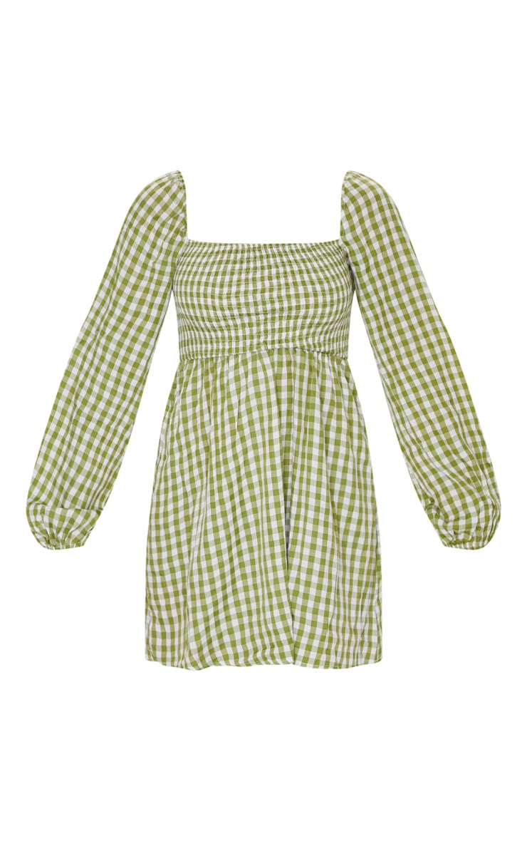 Green Gingham Shirred Smock Dress 5