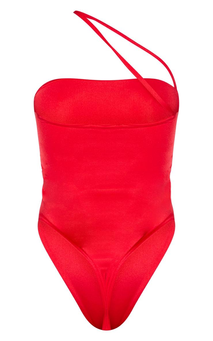Maillot de bain rouge à lanière asymétrique 3
