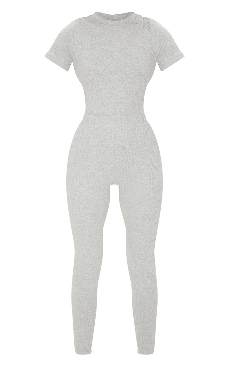 Grey Marl Thick Rib Lace Up Back Jumpsuit 5