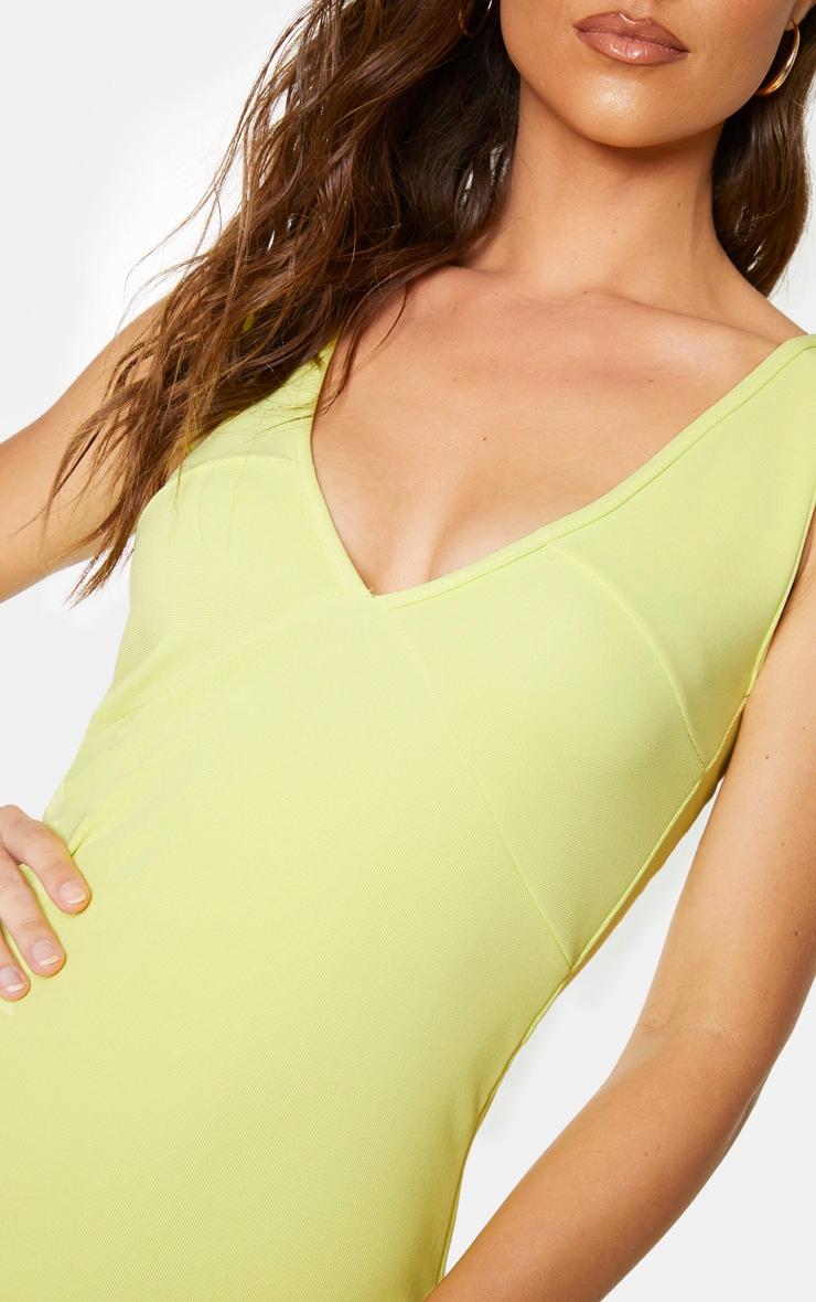 Soft Lime Bandage Rib Seam Detail Plunge Midi Dress 4
