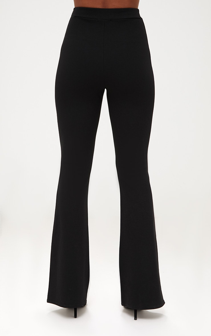 Black Contrast Leg Flared Trousers 4