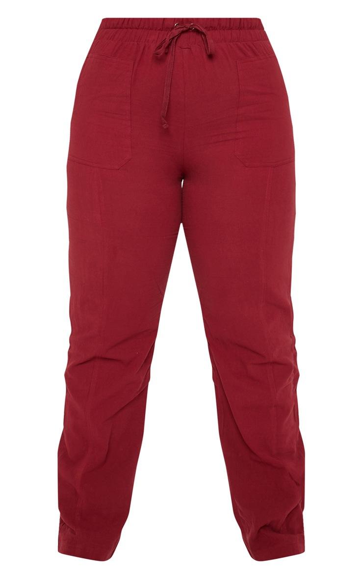 Plus Burgundy Pocket Detail Trousers 3