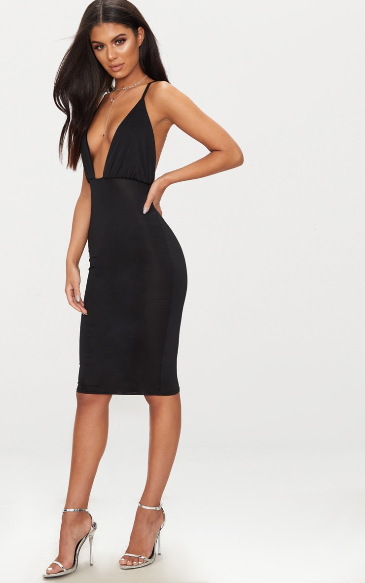Black Double Layer Slinky Ruched Detail Cross Back Midi Dress 4
