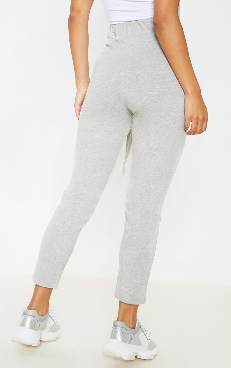 Grey Cotton Tie Waist Skinny Trouser 4