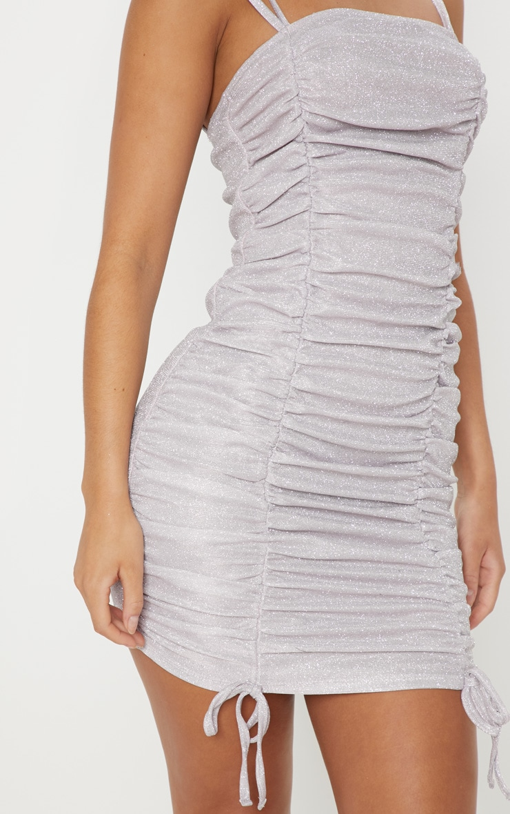 Lilac Glitter Metallic Ruched Bodycon Dress 5