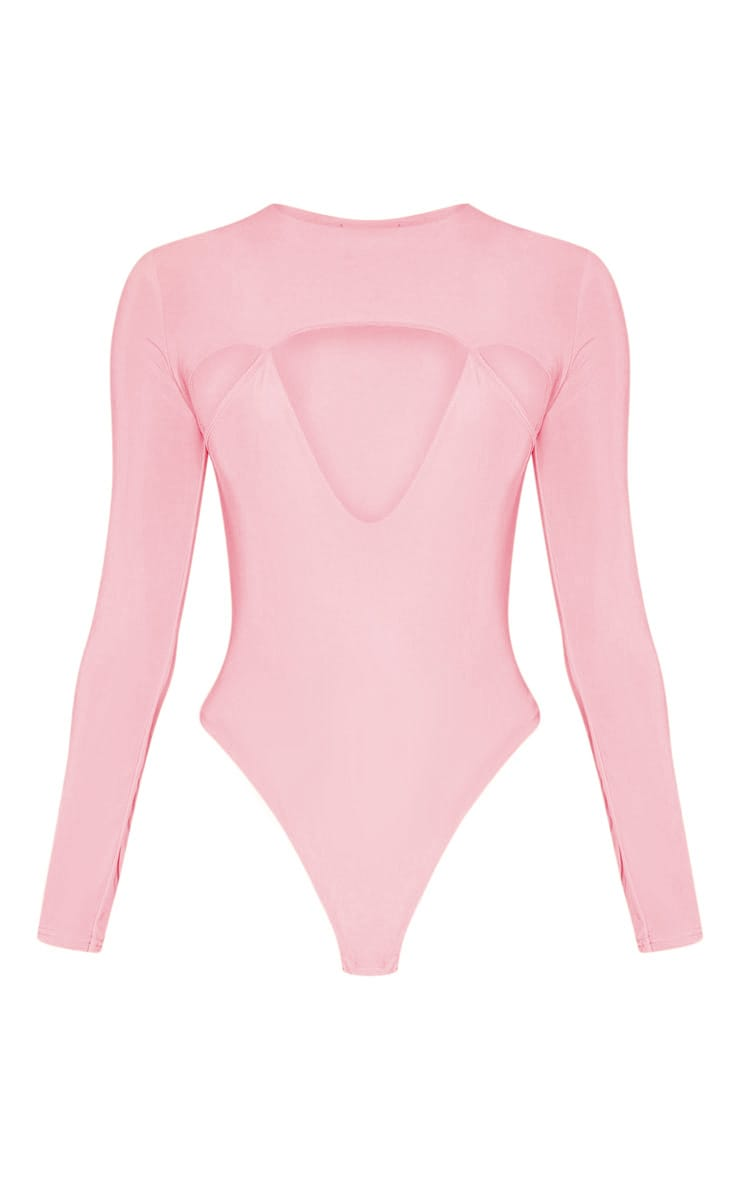Peach Slinky Cut Out Long Sleeve Thong Bodysuit  3