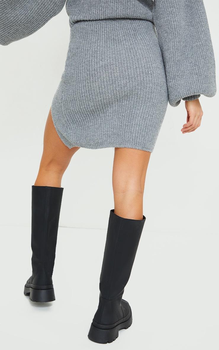 Petite Grey Knitted Split Bodycon Skirt 3