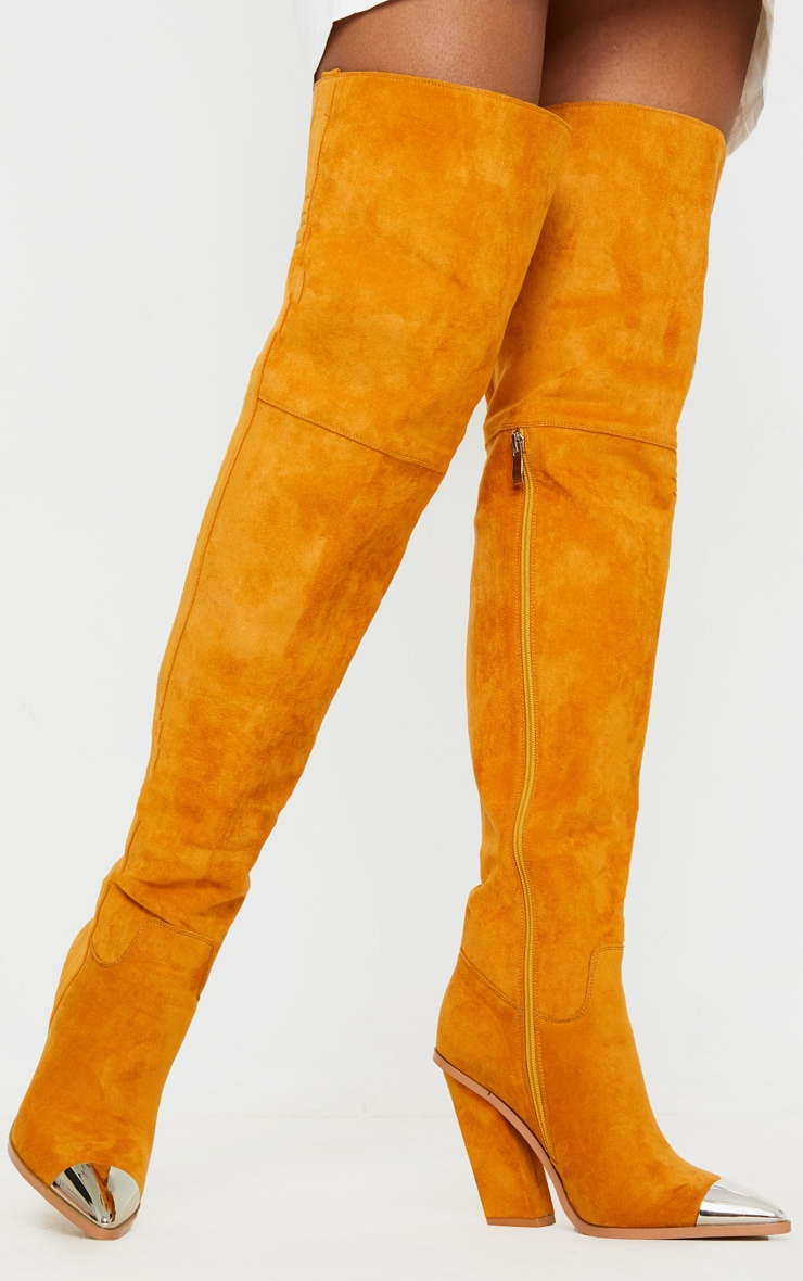 Tan Metal Toe Thigh Boot 2