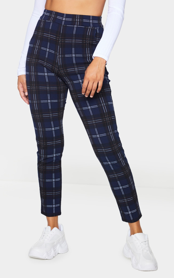 Navy Check Skinny Trousers 2