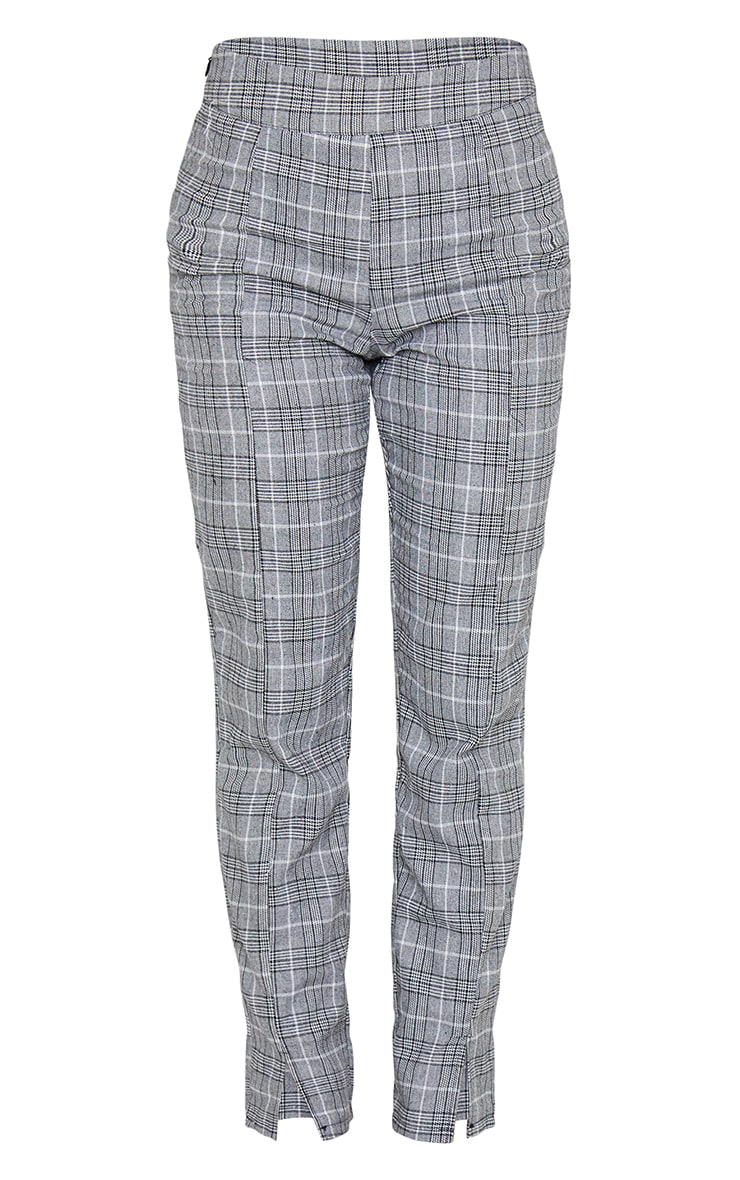 Grey Check Print Straight Leg Suit Trouser 7