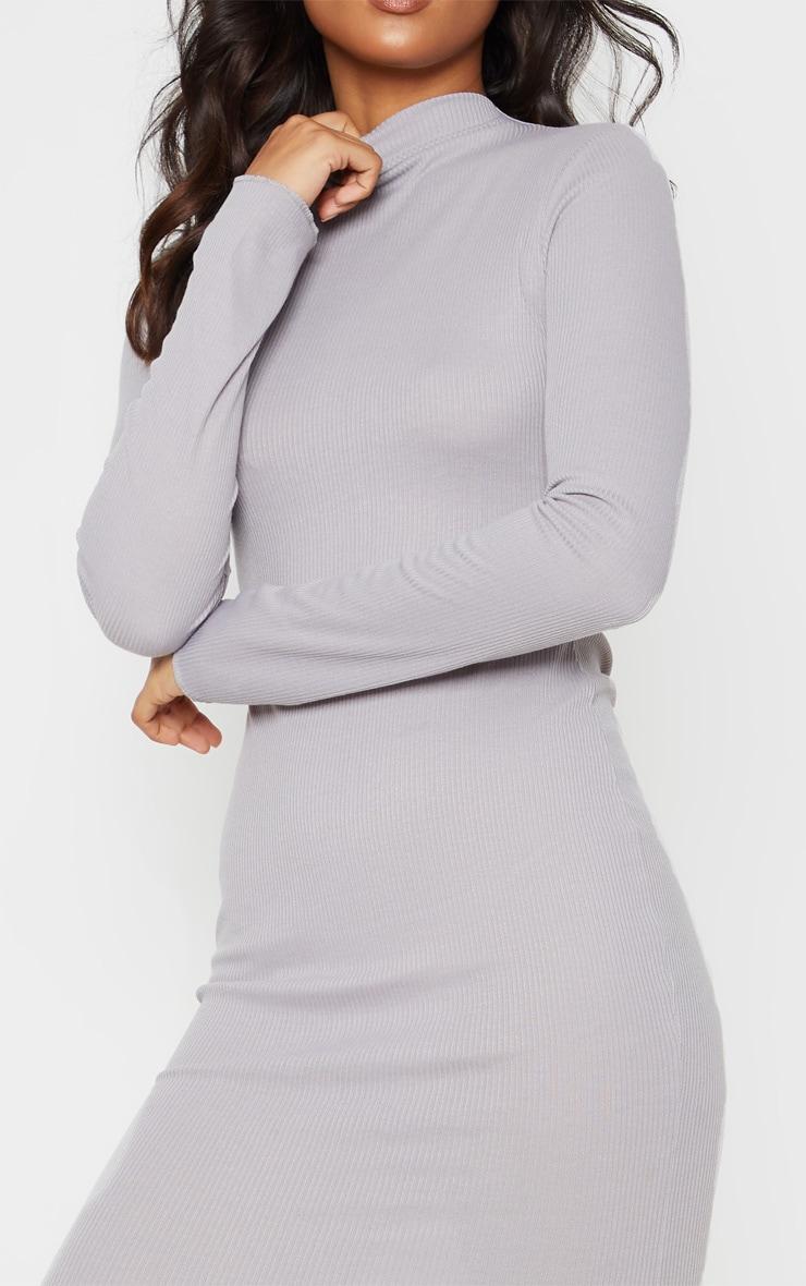 Charcoal Grey High Neck Thumb Hole Midi Dress 5