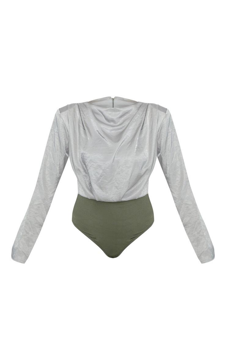 Sage Green Satin Ruched Shoulder Detail Bodysuit 3