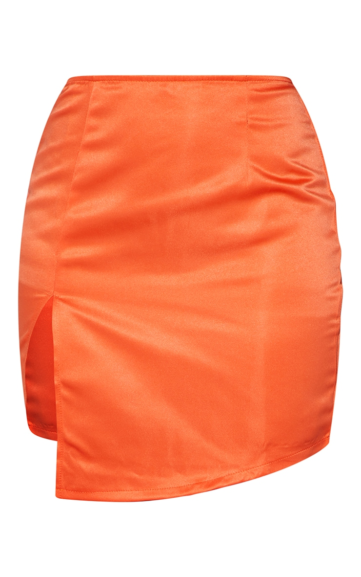Burnt Orange Tailored Satin Split Front Mini Skirt 6