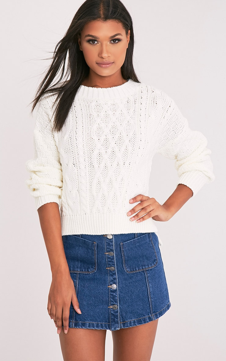 Chyanne Cream Cable Knit Jumper 1