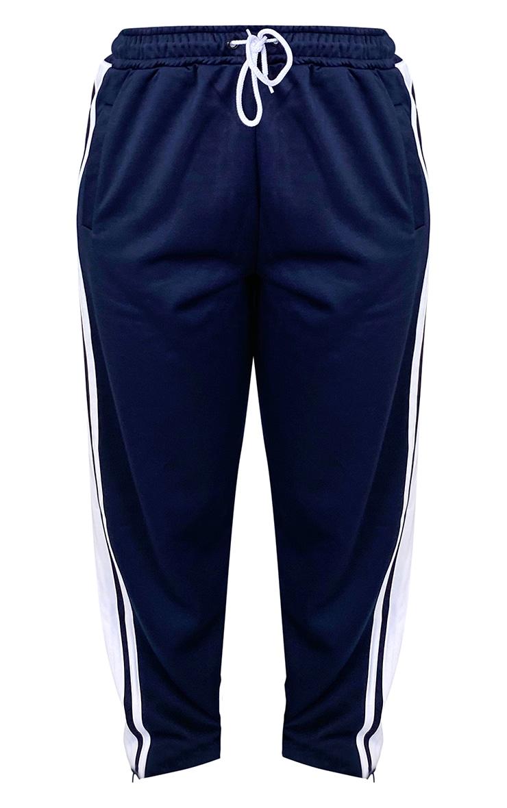 Plus Navy Side Stripe Zip Hem Drawstring Joggers 5