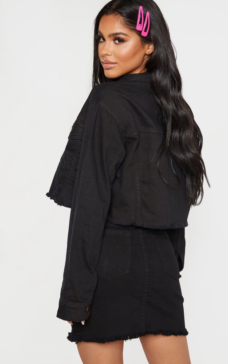 Petite Black Raw Edge Cropped Denim Jacket 2