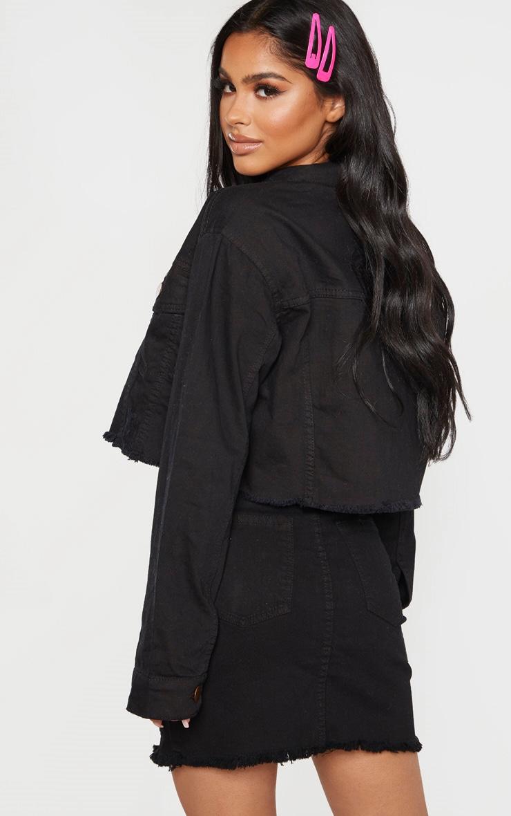 Petite - Veste courte en jean noir à bordure déchirée 2
