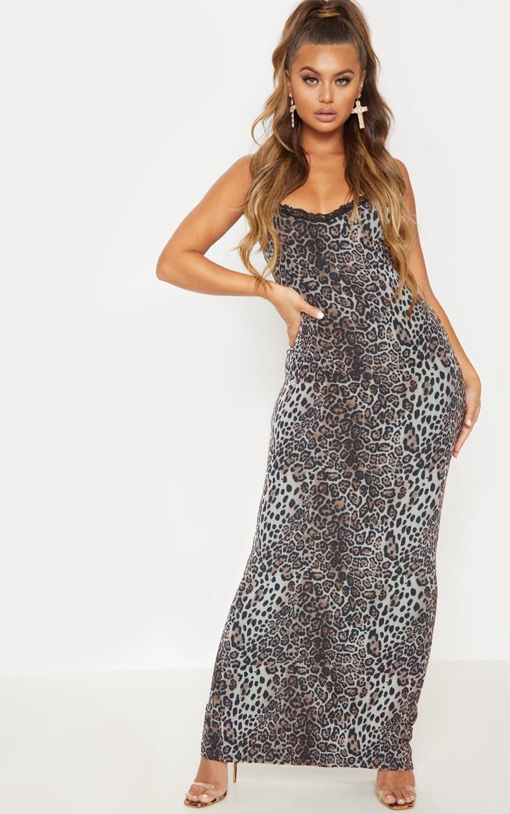 Robe longue en mesh imprimé léopard et dentelle 2
