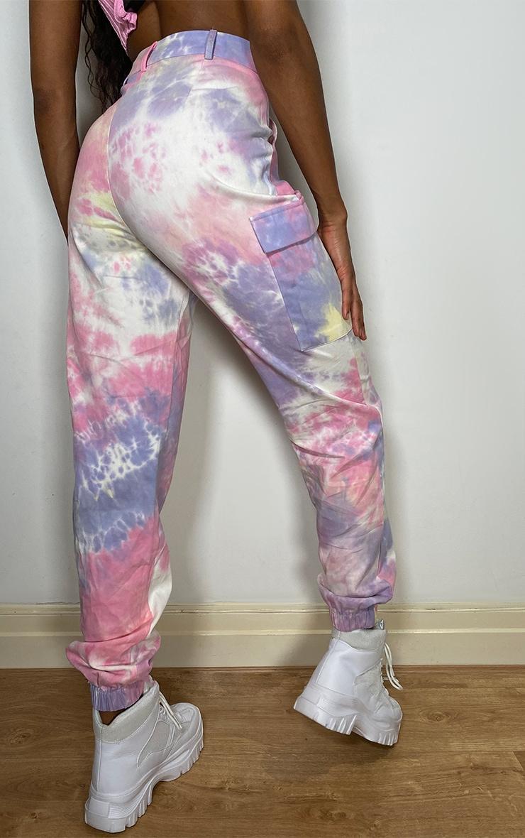 Multi Pastel Tie Dye Cargo Trousers 3