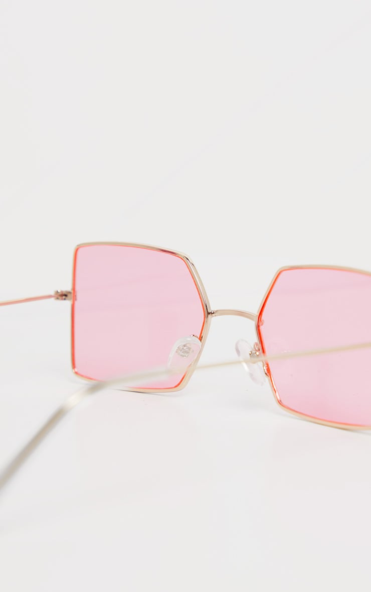 Pink Retro Square Sunglasses 4