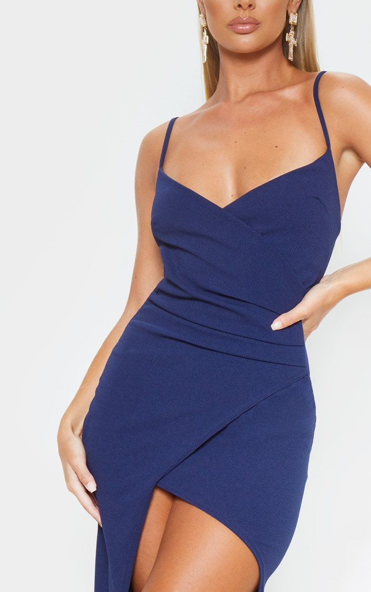 Midnight Blue Wrap Front Crepe Maxi Dress 5