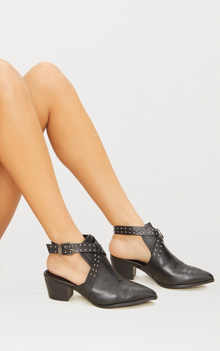 Black Western Buckle Cut Out Heel Ankle Boot  1