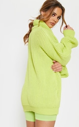 3d36b9025ea437 Petite Neon Lime Green Roll Neck Oversized Chunky Knit Jumper image 2