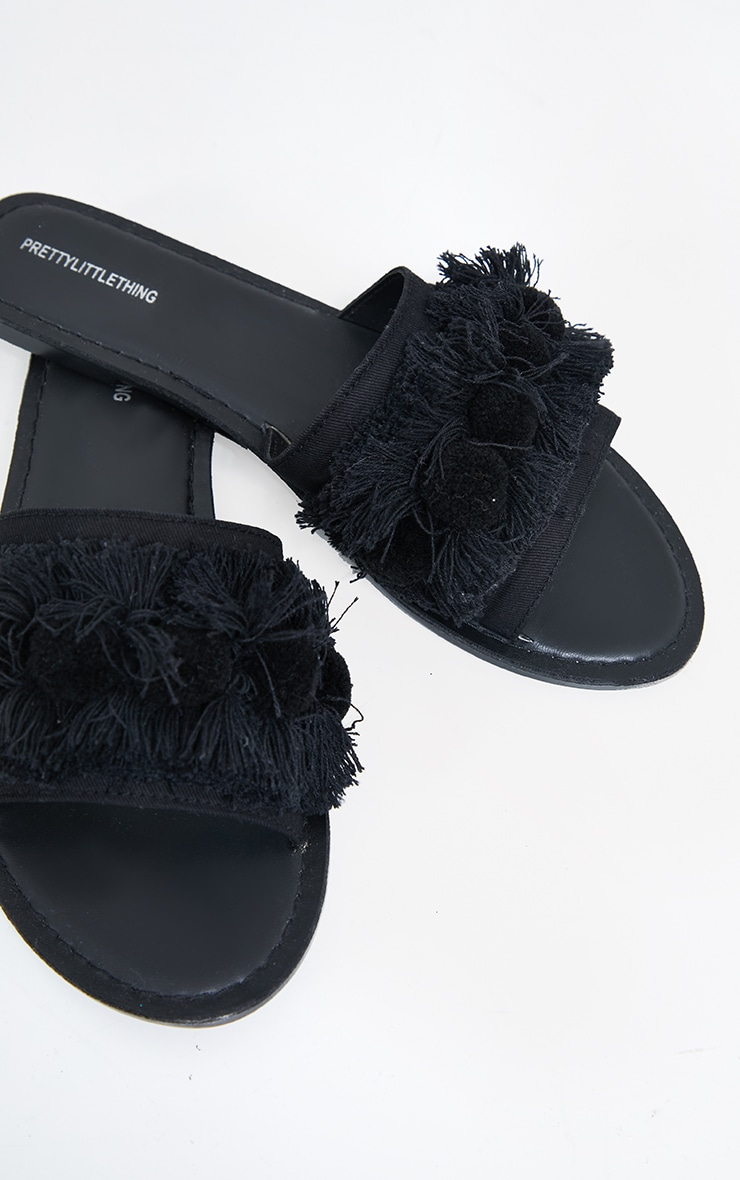 Black Tassel And Pom Pom Mule Sandals 4