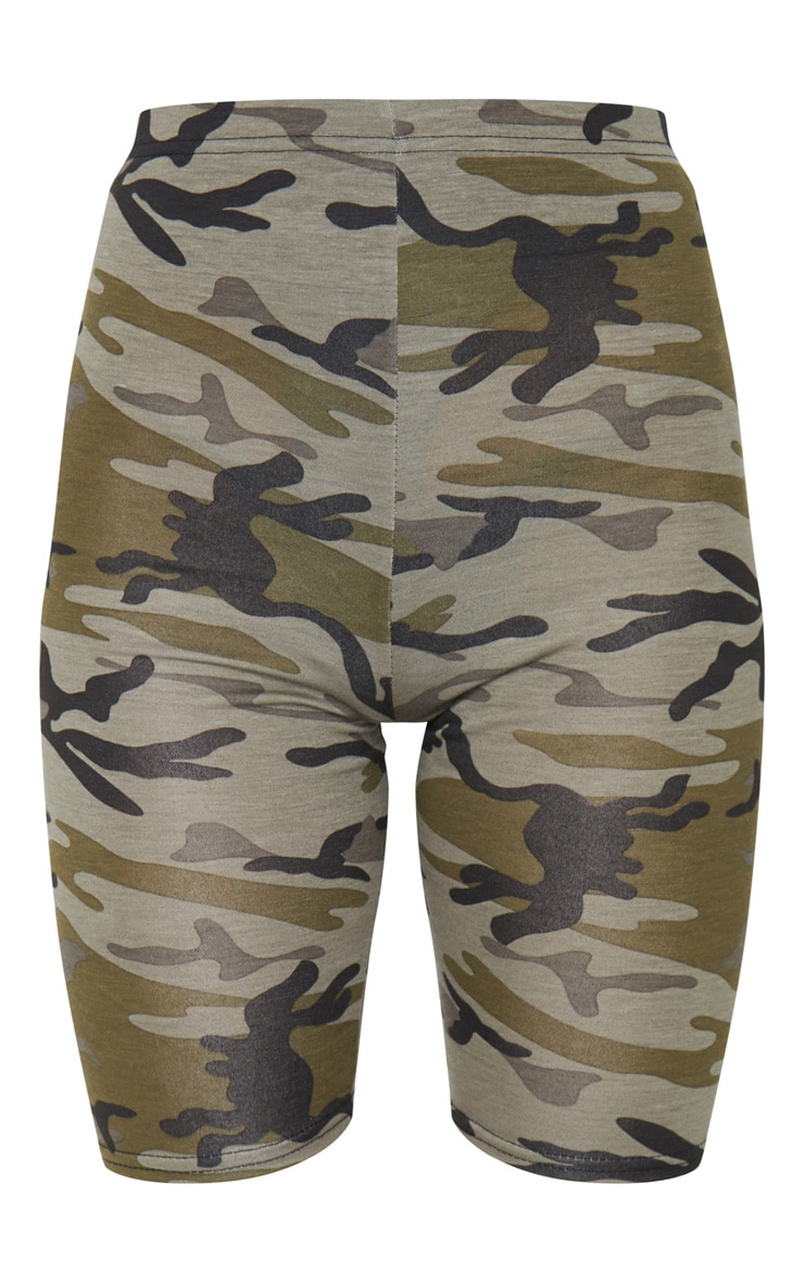 Khaki Camo Print Bike Shorts 6