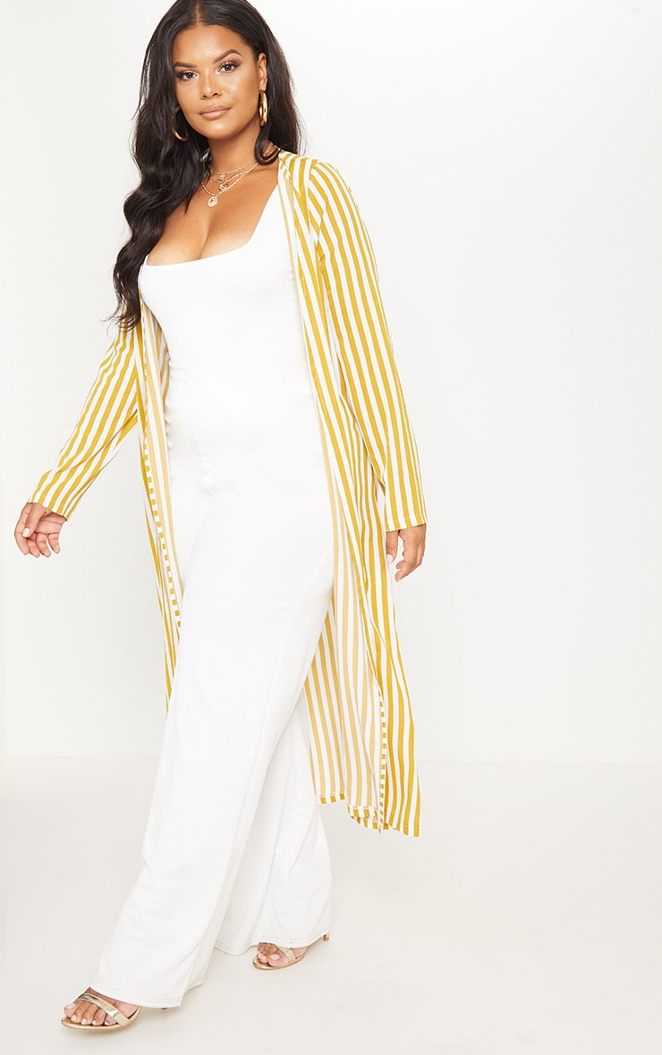 Plus Chartreuse Striped Longline Duster Jacket 4
