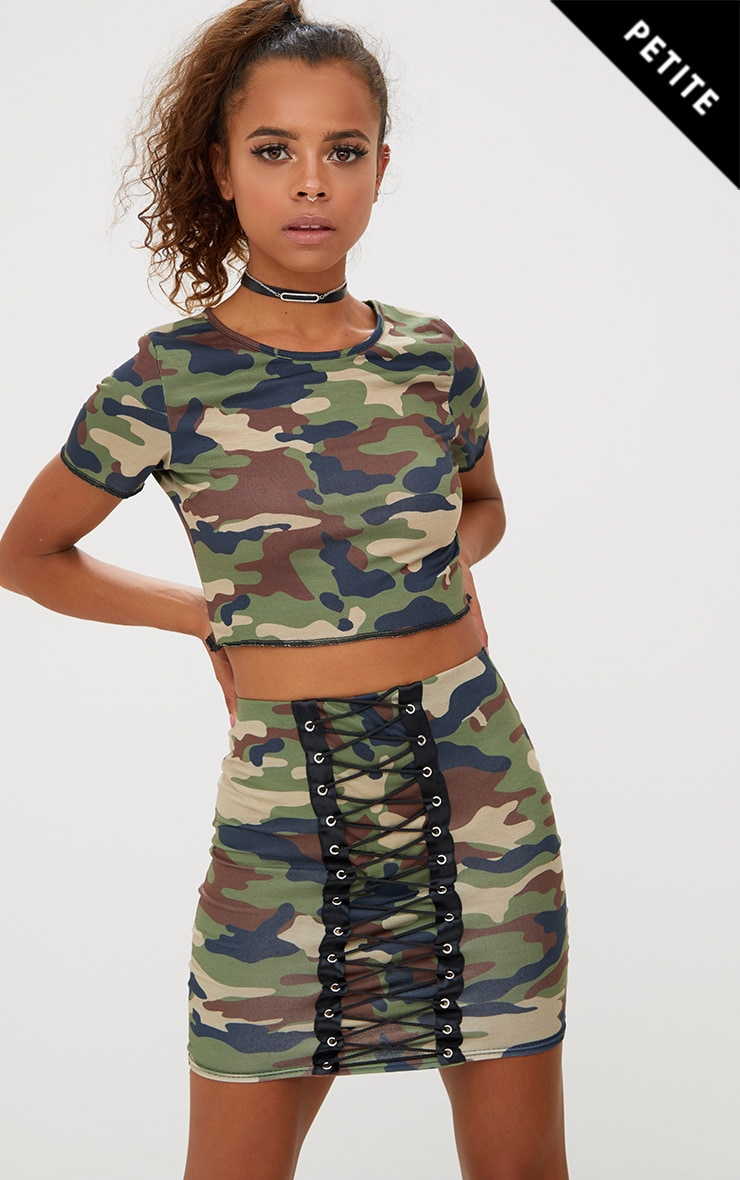 Petite Camo Lace Up Skirt 1