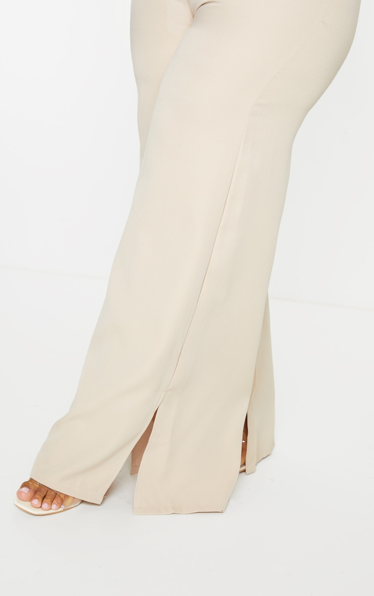 Plus Stone Satin Wide Leg Split Hem Pants 4