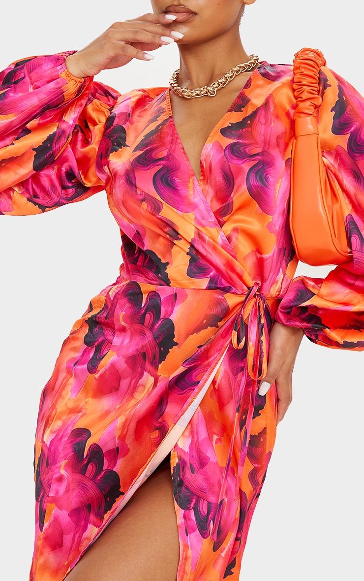 Orange Abstract Print Satin Balloon Sleeve Wrap Midi Dress 4